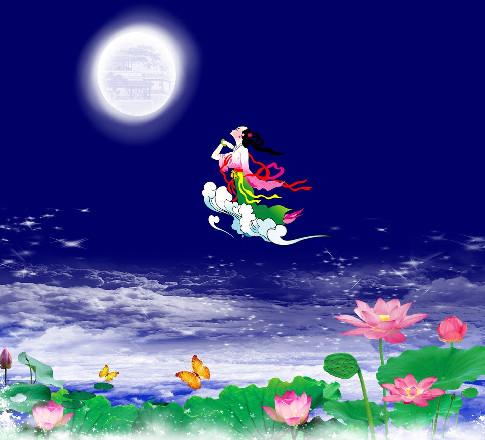 羿思念嫦娥,只能望著月亮出神