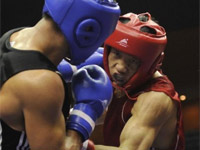 全运拳击男子91公斤以上级决赛:河南队张志磊夺冠