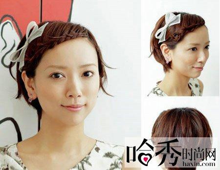 可爱蝴蝶结,甜美可人,这款短发伴娘发型时尚甜美但不