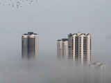 重庆大足浓浓秋雾 城市若隐若现如梦幻仙境