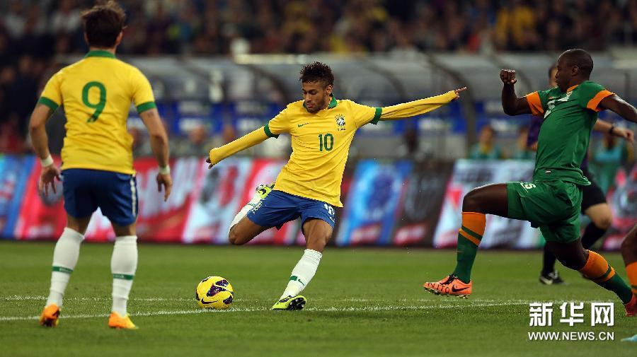 国际足球友谊赛巴西_友谊赛:五星巴西鸟巢击败非洲冠军赞比亚_ 视频中国