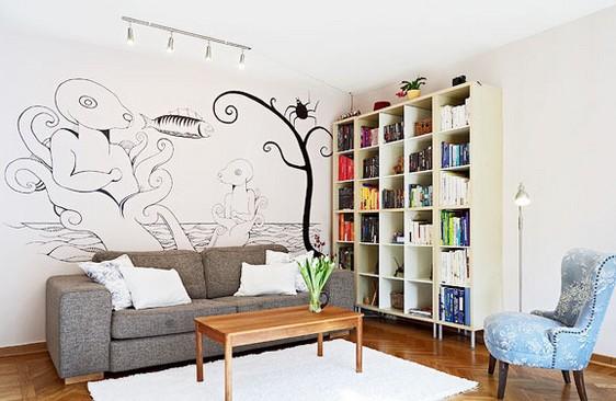 千娇百媚手绘墙 用彩色颜料绘制家的个性(1)-装修