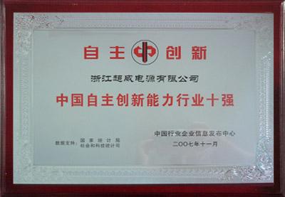 中国自主创新能力行业十强
