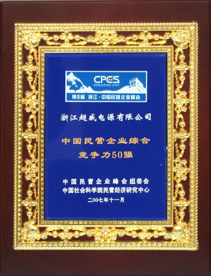 中国民营企业综合竞争力50强