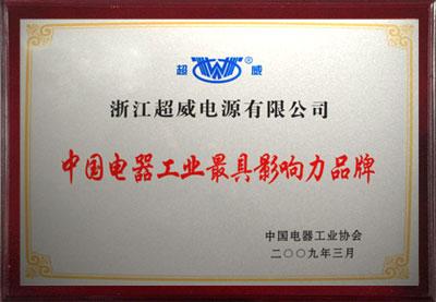 中国电器工业最具影响力品牌
