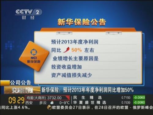 新华保险:预计2013年净利润同比增加50%