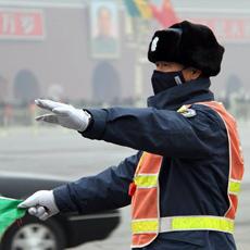探访京城雾霾中的工作者[组图]