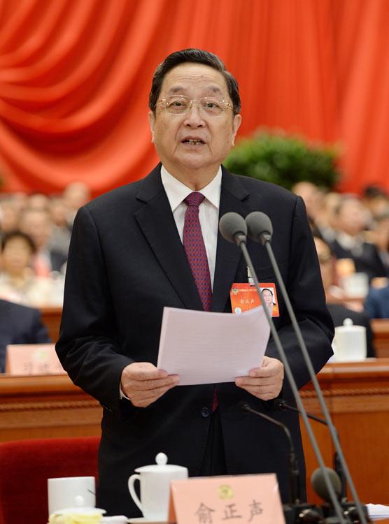 3月12日,全國政協十二屆二次會議在北京人民大會堂舉行閉幕會。全國政協主席俞正聲主持閉幕會並講話。 新華社記者 馬佔成攝