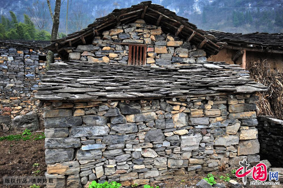 湖北宜昌乐天溪镇莲沱村留存的石屋。中国网图片库 张国荣/摄