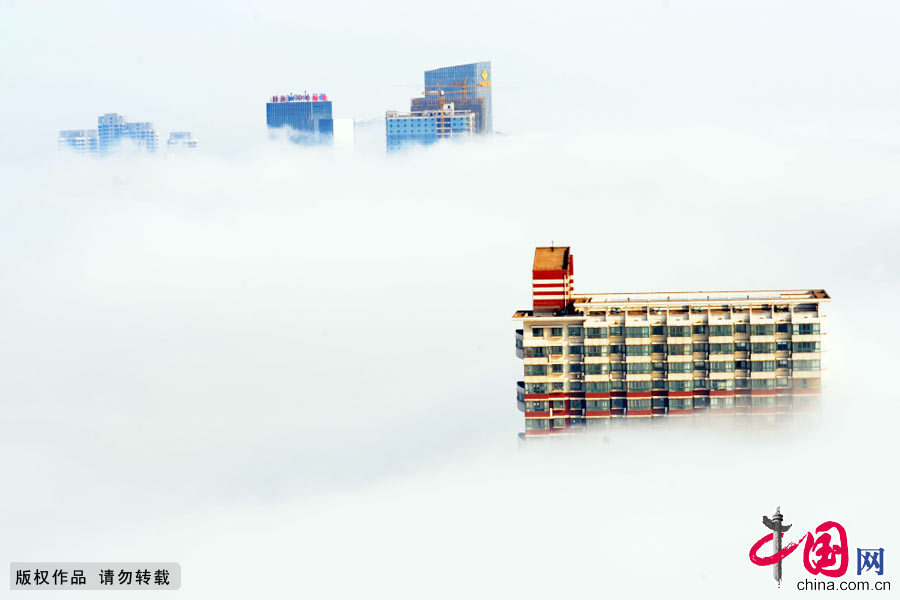 壮观,平流雾,蔓延,城市,建筑,连云港,江苏,