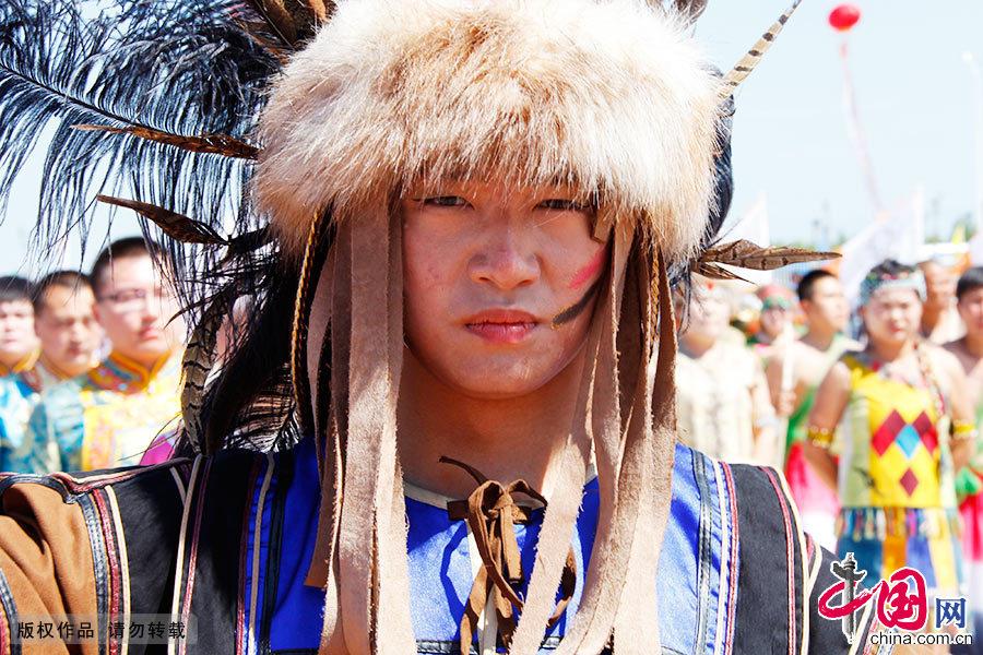 """赫哲族依玛坎歌手。""""依玛坎""""是赫哲族一种口头相传的民间说唱文学。"""