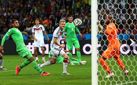 许尔勒厄祖加时2球 德国2-1淘汰阿尔及利亚_