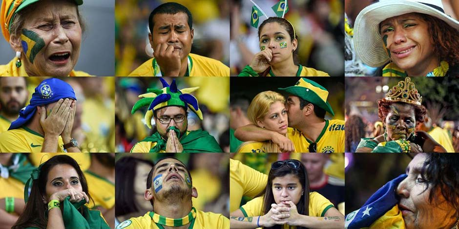 巴西1:7負德國無緣決賽 各地巴西球迷痛哭流涕[組圖]
