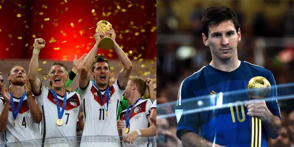 德國隊勇奪世界盃 梅西獲金球表情失落[組圖]
