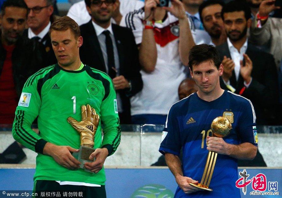 2014年7月13日,巴西裏約熱內盧,2014巴西世界盃決賽,頒獎典禮舉行。