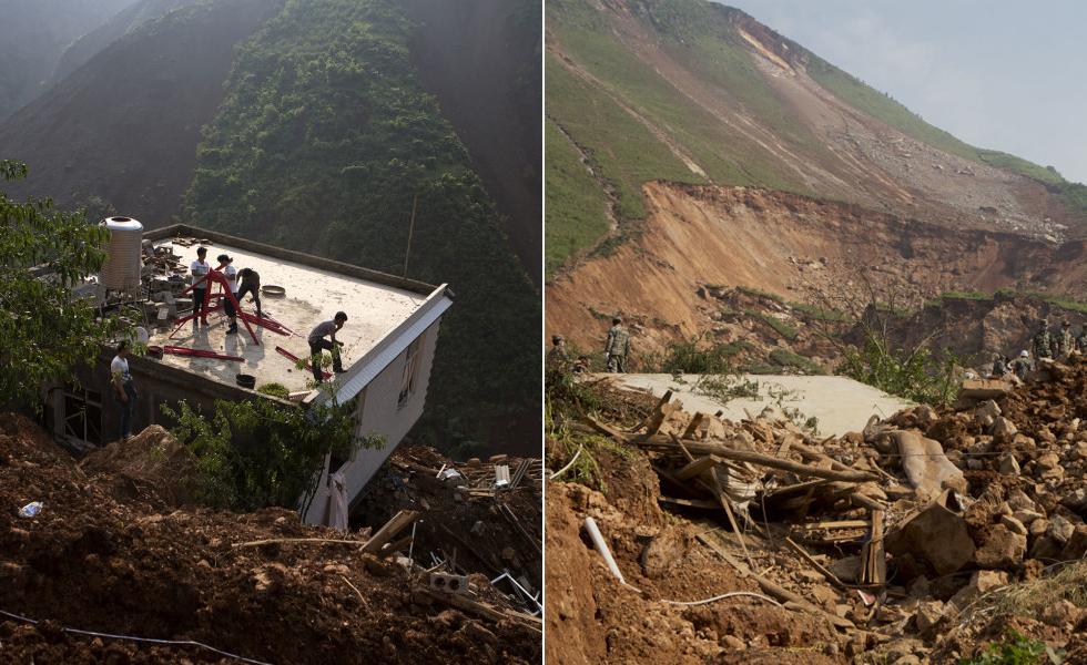 震后半面山体滑坡吞噬整个村庄