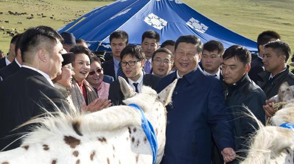 习近平同蒙古国总统额勒贝格道尔吉共同观看那达慕