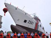 中國最大海警船下水將部署東海 排水量5千噸(圖)