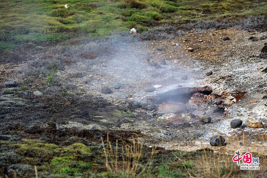 随处可见的地热景观,空气中散发着浓浓的硫磺的气味