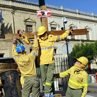 西班牙消防员抗议政府裁员