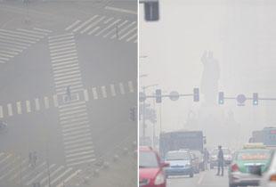 沈阳雾霾指数爆表 毛主席雕像隐现