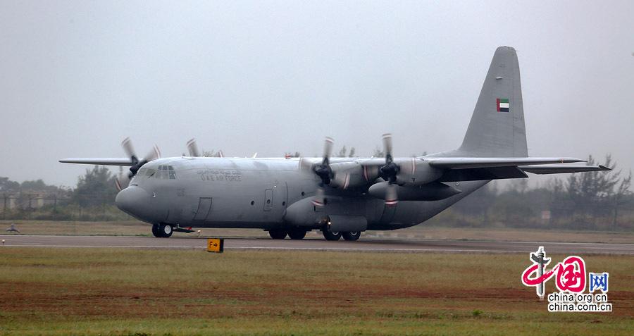 """阿联酋空军c130""""大力神""""运输机抵达珠海"""