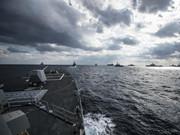 美日海上大聯演艦影如林 出動F-22劍指中國