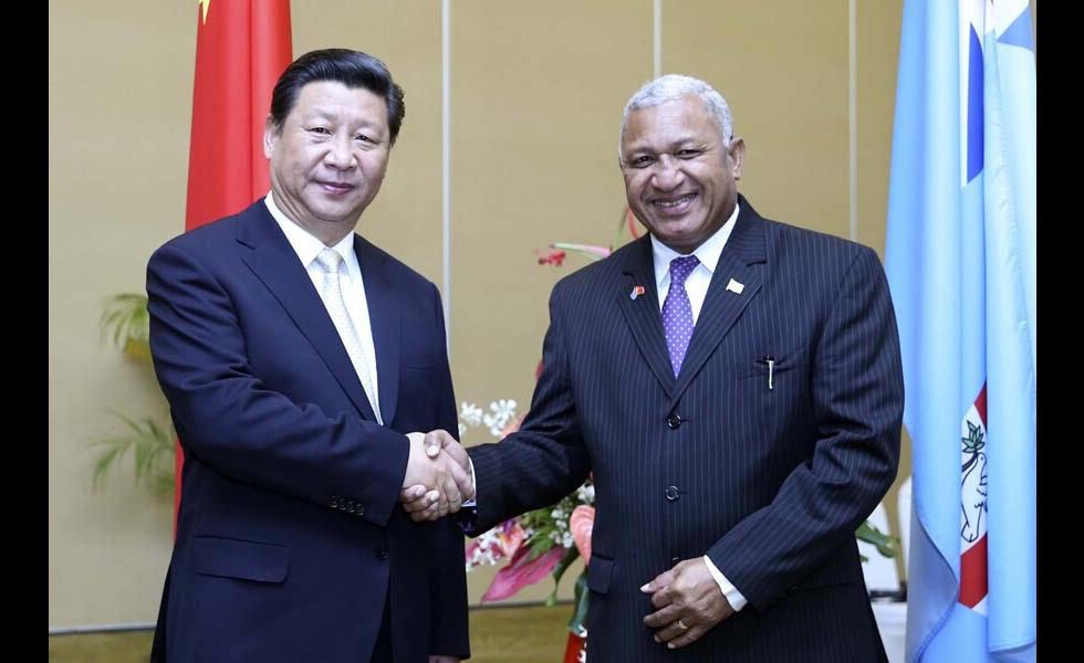 习近平同斐济总理姆拜尼马拉马举行会谈