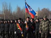頓涅茨克軍校學員參加宣誓儀式