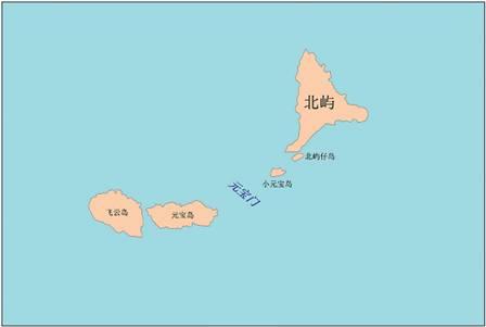 北屿及其周边地理实体位置示意图