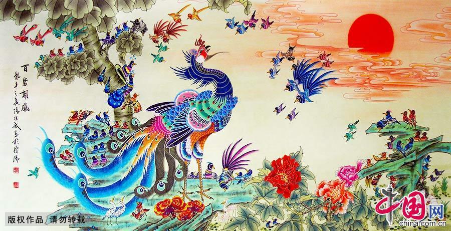图为凤阳凤画《百鸟朝凤》。凤阳凤画是凤阳县独有的民间绘画艺术,起源于元末明初,已有600多年历史,因产生在凤阳县而得名。中国网图片库 高建业/摄