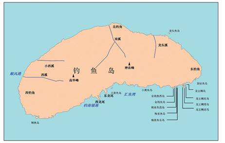 Map of Diaoyu Dao and its surrounding geographic entities