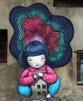 上海:拆迁废墟上的涂鸦作品组图