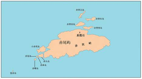 Map of Chiwei Yu and its surrounding geographic entities