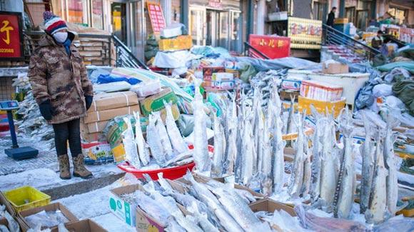 黑龙江佳木斯:探秘中国最东市场 冻鱼倒插地上卖