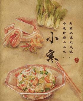 手绘'24节气美食图':刺激吃货们的味蕾