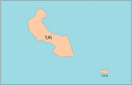 飛嶼及びその周辺の地理的実体の位置見取図