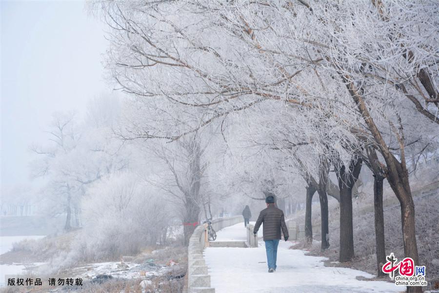 2015年3月3日,吉林省吉林市,人们在吉林市松花江畔美丽的春日雾凇前行走。中国网图片库 王明铭/摄