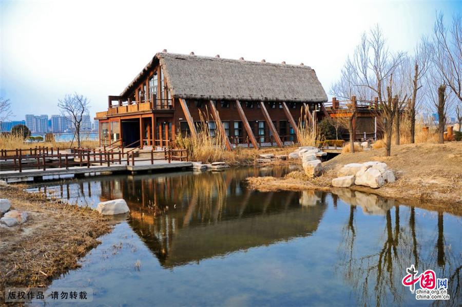 2015年3月14日,在唐岛湾公园里的另一处休闲海草房。中国网图片库 王海滨/摄