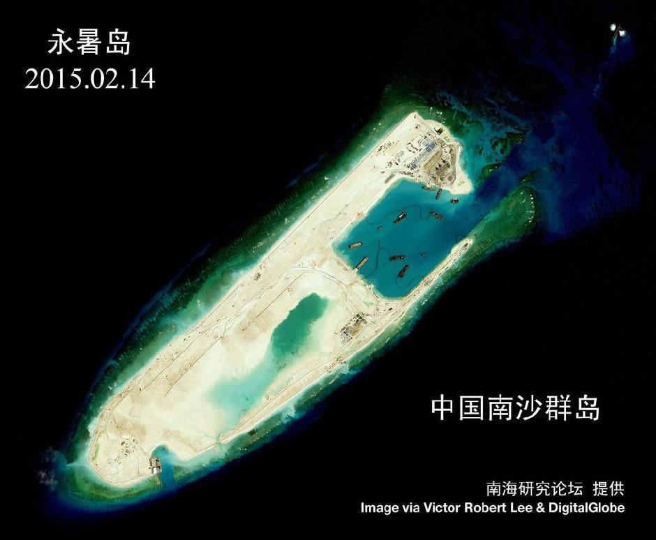 中国南海岛礁扩建最新卫星高清照曝光(组图)( 02 / 19 )