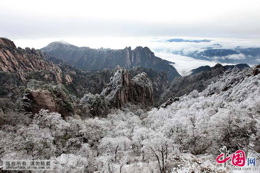 2015年4月8日,在黄山风景区拍摄的罕见的四月春雪美景。中国网图片库 施亚磊/摄