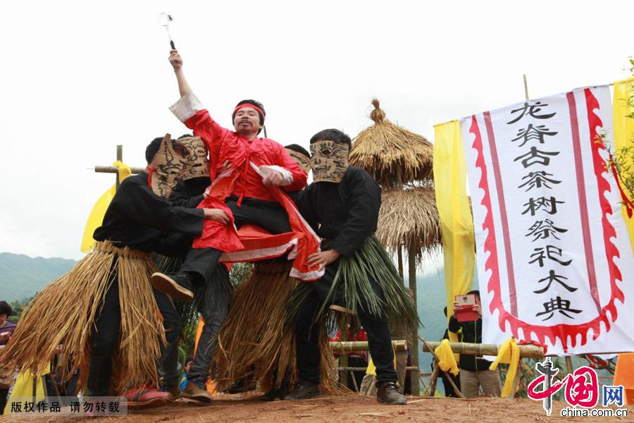 广西桂林市龙胜各族自治县中禄村下埠寨,瑶族同胞在举行古茶树祭祀仪式。中国网图片库 王滋创摄