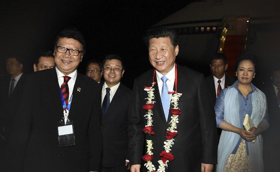习近平抵达雅加达出席亚非领导人会议和万隆会议60周年纪念活动