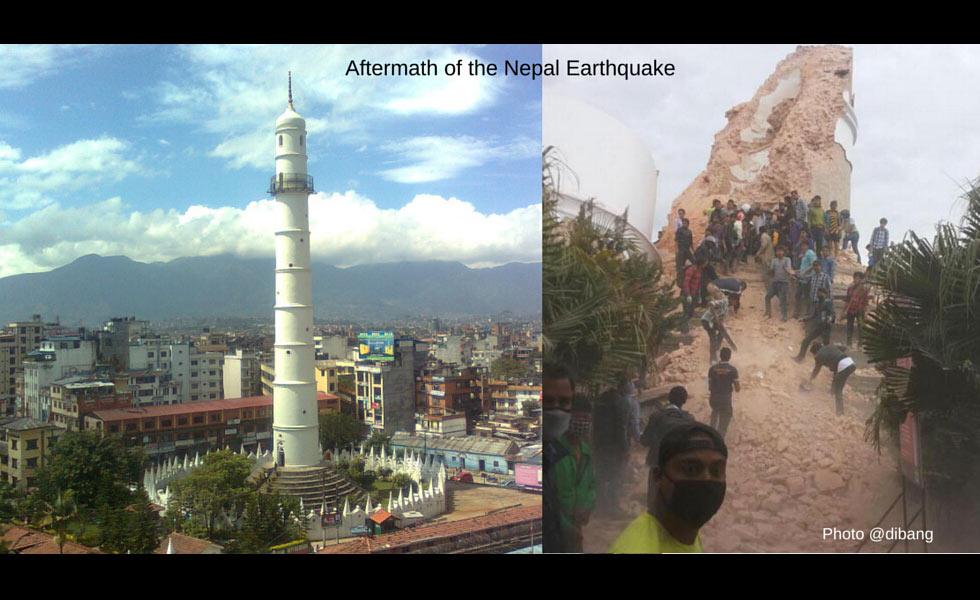 尼泊尔9层高塔倒塌 可能400人被埋