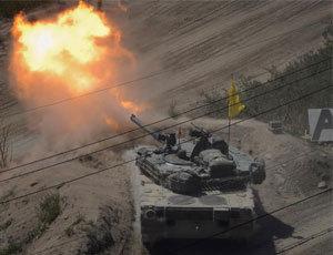韓軍坦克訓練射擊K1猛烈開火