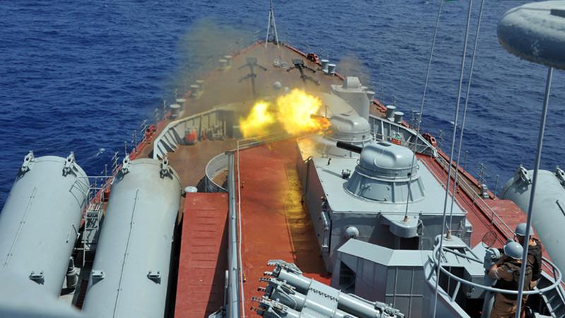 中俄地中海聯演實彈射擊 多型武器連番開火