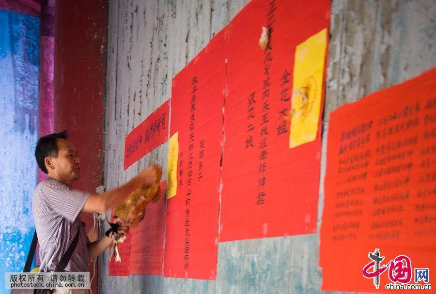 戏开场之前,泸溪县辰河高腔传习所的所长捉了一只雄鸡祭拜各路神灵及剧团历届祖师爷。中国网图片库 尹忠 摄
