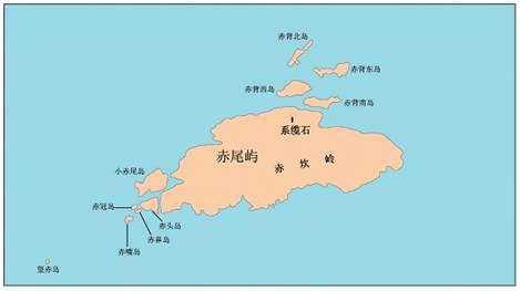 Mapa del islote Chiweiyu y las entidades geográficas a sus alrededores