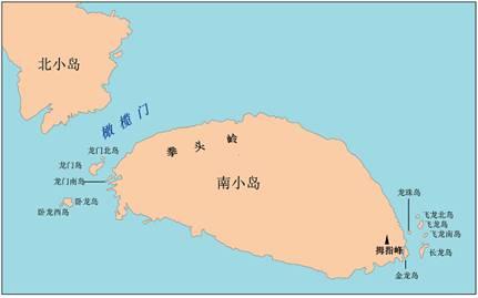 Mapa del islote Nanxiaodao y las entidades geográficas a sus alrededores