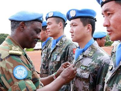 聯合國向中國赴南蘇丹維和部隊授和平榮譽勳章